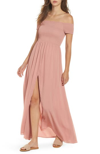Tularosa Henderson Print Off The Shoulder Maxi Dress, Pink