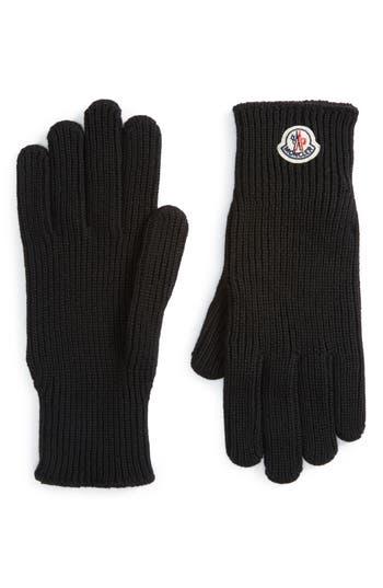 Moncler Logo Patch Knit Wool Gloves, Black