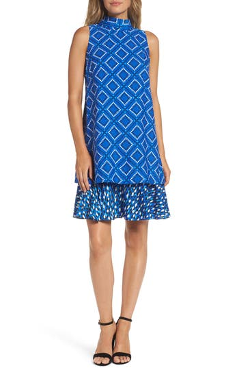 Women's Eliza J Ruffle Shift Dress, Size 6 - Blue