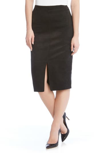 Karen Kane Faux Suede Pencil Skirt, Black
