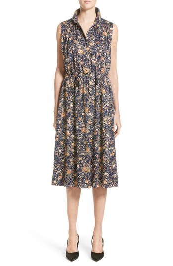 Adam Lippes Floral Print Silk Dress, Blue