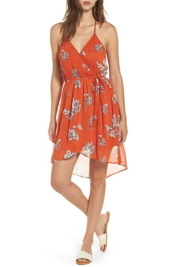 Women's Band Of Gypsies Floral Surplice High/low Dress, Size X-Small - Orange