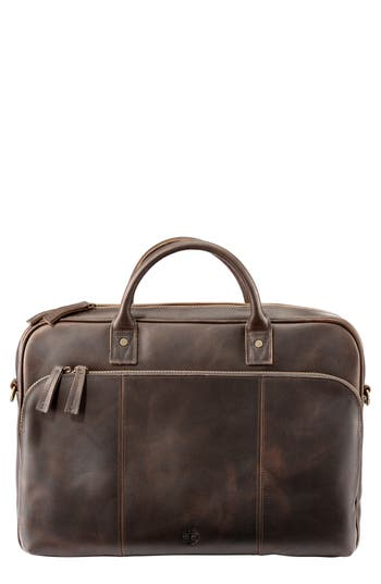 Men's Timberland Tuckerman Leather Briefcase - Brown