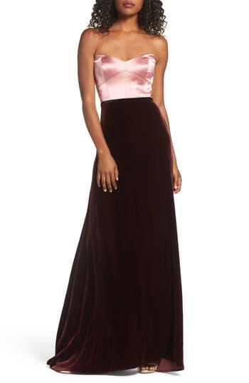 Jill Jill Stuart Strapless Satin & Velvet Gown, Pink