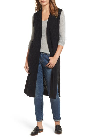 Halogen Cable Stitch Long Sweater Vest, Size One Size - Black