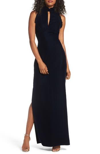 Shoshanna Alisa Ruffle Velvet Column Gown, Blue