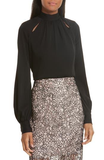Women's Milly Simona Tie Back Stretch Silk Blouse, Size 0 - Black