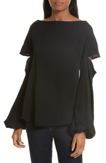 Women's Milly Dahlia Stretch Silk Slouch Top, Size Petite - Black