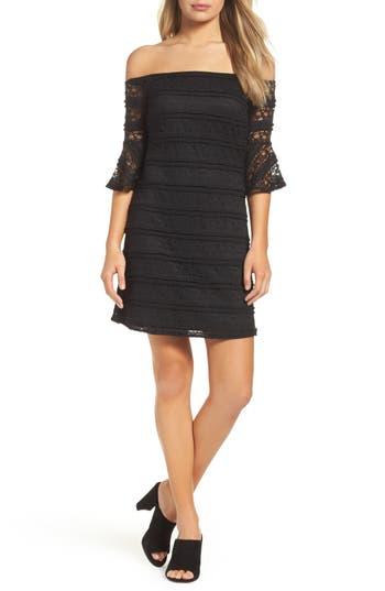 Nsr Off The Shoulder Lace Dress, Black
