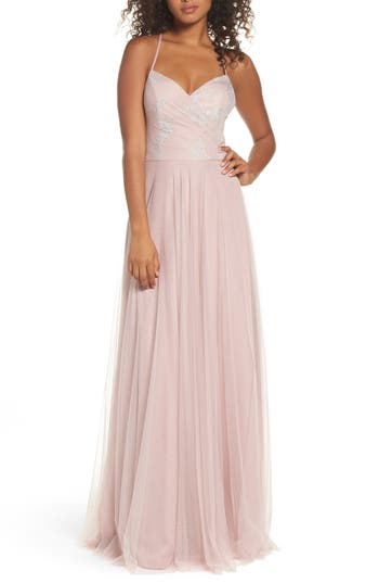 Hayley Paige Occasions Embellished Bodice Net Halter Gown, Pink
