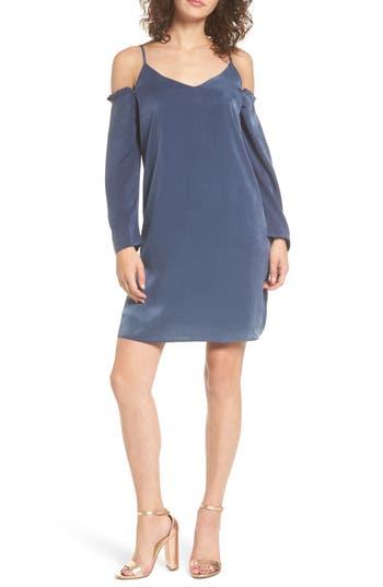 Everly Satin Cold Shoulder Dress, Blue