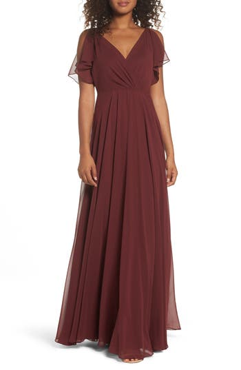 Jenny Yoo Cassie Flutter Sleeve Chiffon A-Line Gown, Red