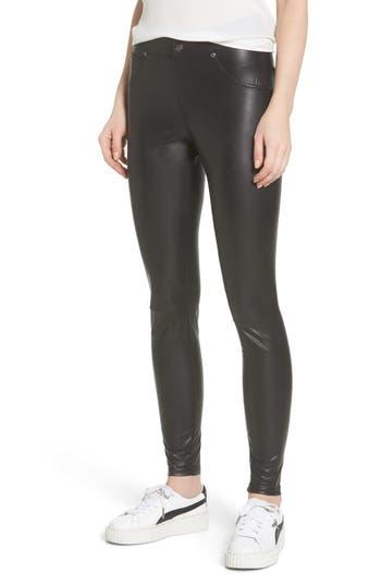 Hue Leatherette Curvy Leggings, Black