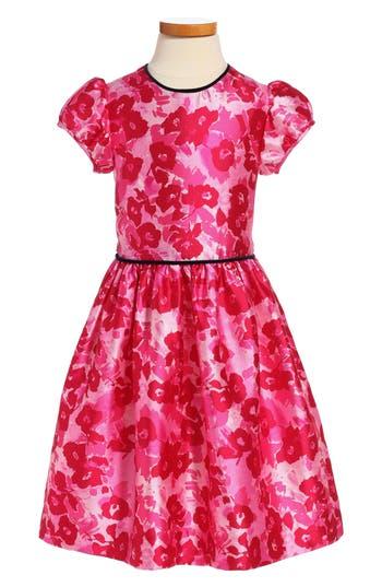 Girl's Oscar De La Renta Wild Roses Mikado Party Dress, Size 6Y - Pink