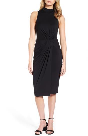 Soprano Twist Front Body-Con Dress, Black