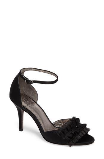 Women's Adrianna Papell Alcott Chiffon Ruffle Sandal, Size 5.5 M - Black