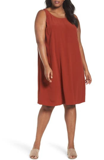 Plus Size Eileen Fisher Tencel Blend A-Line Shift Dress, Orange