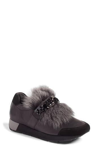 Kennel & Schmenger Racer Slip-On Sneaker With Genuine Shearling Trim- Black