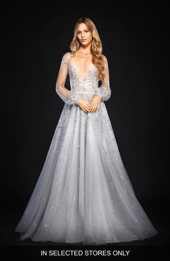 Hayley Paige Lumi Embellished Long Sleeve Tulle Ballgown