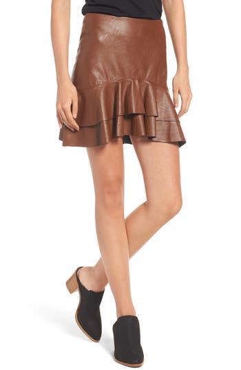 Women's Soprano Ruffle Hem Faux Leather Skirt, Size X-Small - Brown