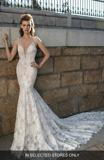Berta Plunging V-Neck Beaded Lace Dress