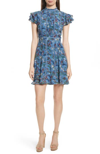 Alice + Olivia Marta High Neck Floral Silk Dress, Blue