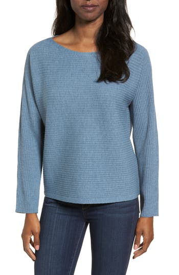 Eileen Fisher Boxy Ribbed Wool Sweater, Blue