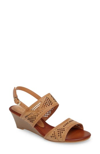 Athena Alexander Sparce Perforated Wedge Sandal, Brown