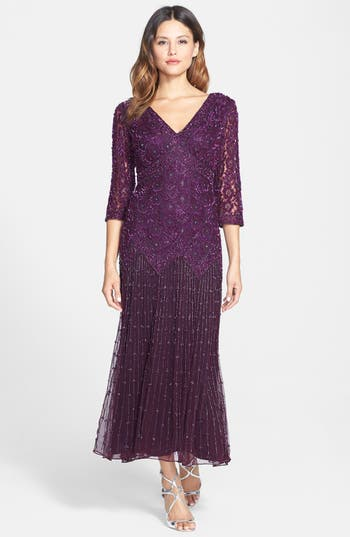 Pisarro Nights Beaded Mesh Dress, Purple