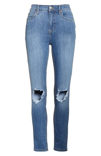Free People High Rise Busted Knee Skinny Jeans, Blue