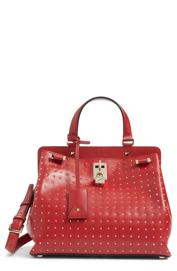 Valentino Garavani Medium Pieper Studded Leather Satchel - Red