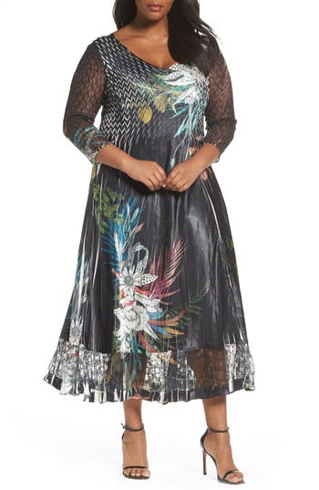 Plus Size Komarov Floral Charmeuse & Chiffon A-Line Dress, Blue