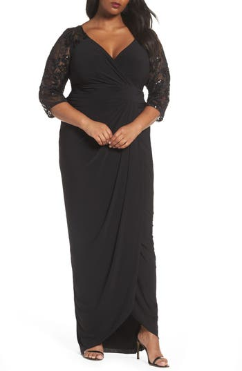 Plus Size Adrianna Papell Illusion Lace V-Neck Gown, Black