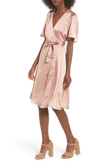 Women's Astr The Label Fiona Wrap Dress, Size X-Small - Pink