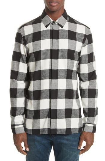 Men's Neil Barrett Live And Let Live Plaid Flannel Sport Shirt