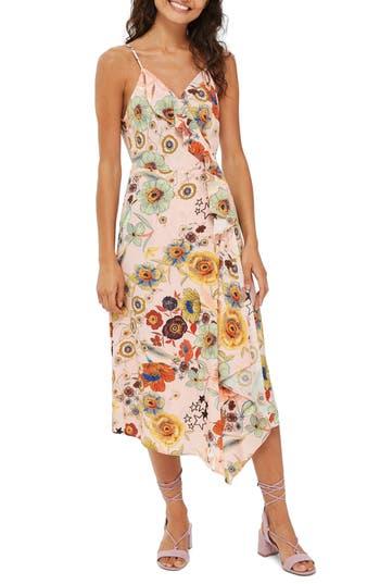 Topshop Star Floral Ruffle Wrap Slipdress, US (fits like 0) - Beige