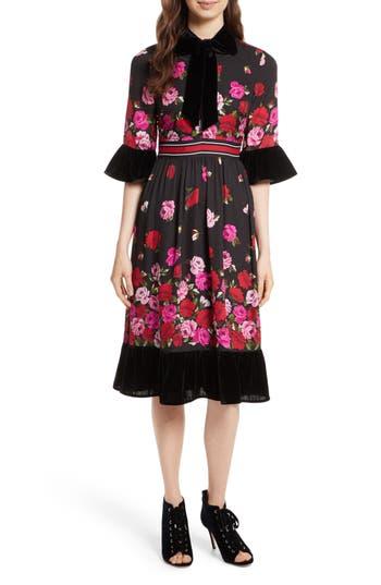 Kate Spade New York Scattered Rose Velvet Trim Silk Dress, Black