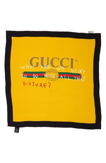 Women's Gucci Coco Capitan Print Silk Scarf, Size One Size - Yellow