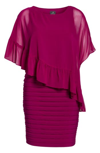 Plus Size Adrianna Papell Pleated Sheath Dress With Chiffon Capelet, Red