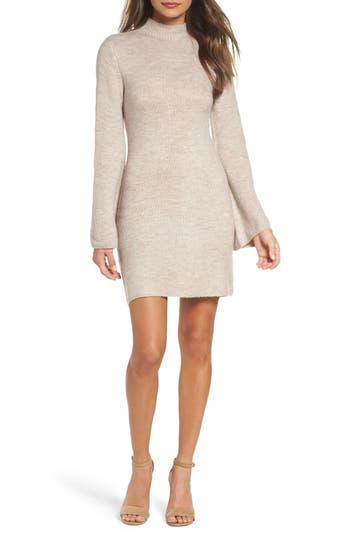 Bardot Bell Sleeve Knit Dress, Beige
