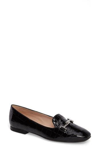 Tods Double T Loafer, Black