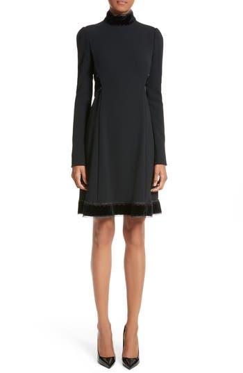 Dolce & gabbana Velvet Trim Cady Turtleneck Dress