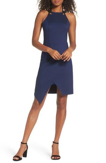 Adelyn Rae Brandi Tie Back Sheath Dress, Blue