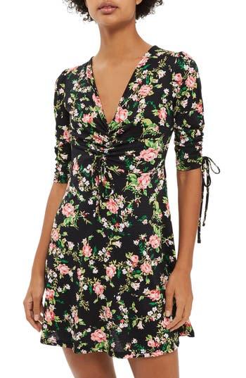 Petite Topshop Floral Ruched Tea Dress