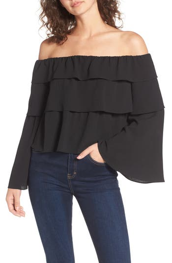 Women's Storee Ruffle Off The Shoulder Top, Size X-Small - Black