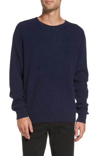 Vince Ribbed Wool & Cashmere Raglan Sweater, Blue