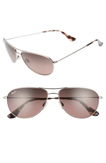 Maui Jim Sea House 60Mm Polarized Titanium Aviator Sunglasses - Rose Gold/ Maui Rose