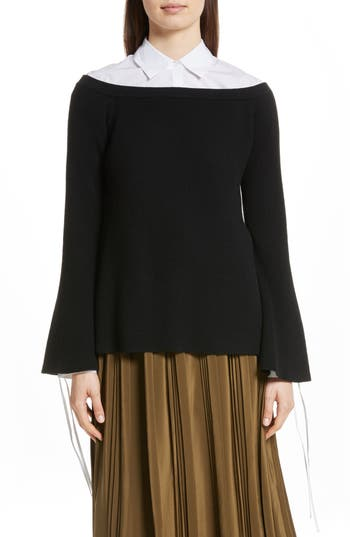 Robert Rodriguez Off The Shoulder Wool & Cashmere Sweater, Black