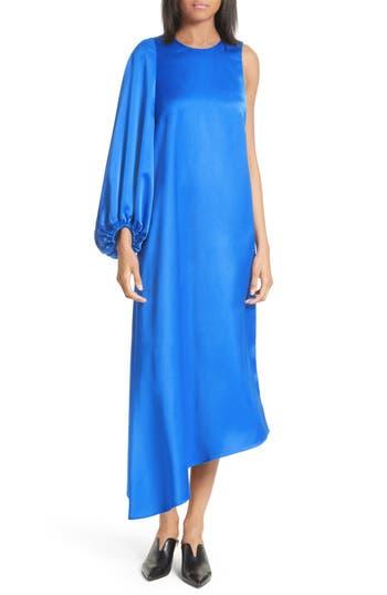 Tibi Celestia One Sleeve Bias Cut Satin Dress, Blue