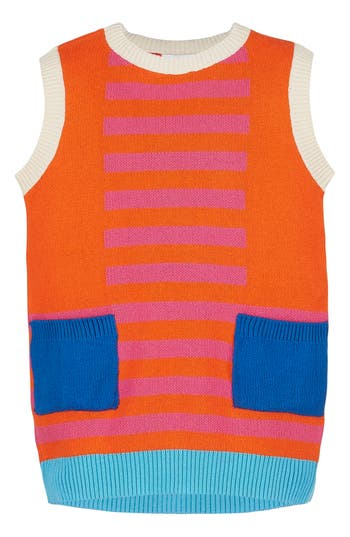 Girl's Margherita Retro Colorblock Sweater Knit Dress